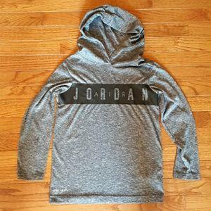 Air Jordan boys long sleeve hooded t-shirt (gray)